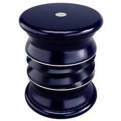 Outdoor Lonian Stool Fiber Glass Blue Nickel Plated Stainless Steel Details