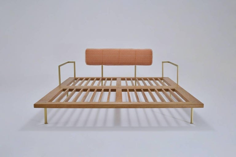 Mid-Century Modern Outdoor Lounge Bed in Reclaimed Hardwood & Brass Frame by P.Tendercool In Stock For Sale