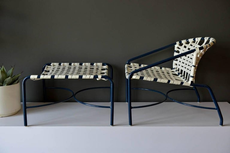 Outdoor lounge chair and ottoman by Tadao Inouye for Brown Jordan, circa 1970. Rare lounge chair version which is wider and lower than the standard chair. Matching ottoman included. Both are in very good vintage condition, the strapping is clean and