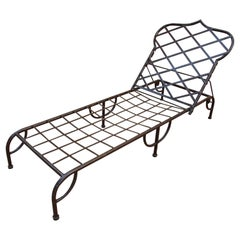 Outdoor Metal Lounge Chair in Mario Papperzini Style Moorish Backrest Design