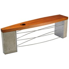 Outdoor Modern Bench with Industrial Concrete Wood and Stainless Steel