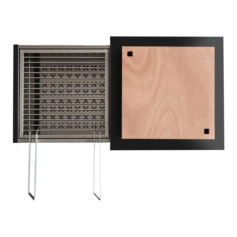 Outdoor Modern Charcoal Barbecue with Sliding Grills, Snail Mono Vision Black In New Condition For Sale In Palermo, IT