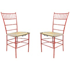 Outdoor Painted Iron Side Chairs