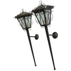 Outdoor Pair Sconces Exterior Wall Light Lantern Iron Glass, French