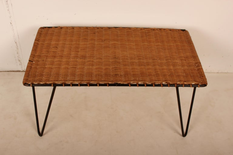 Outdoor Rattan Wicker Set, Coffee Table and 2 Chairs by Raoul Guys, France, 1950 For Sale 5