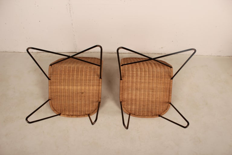 Outdoor Rattan Wicker Set, Coffee Table and 2 Chairs by Raoul Guys, France, 1950 For Sale 1