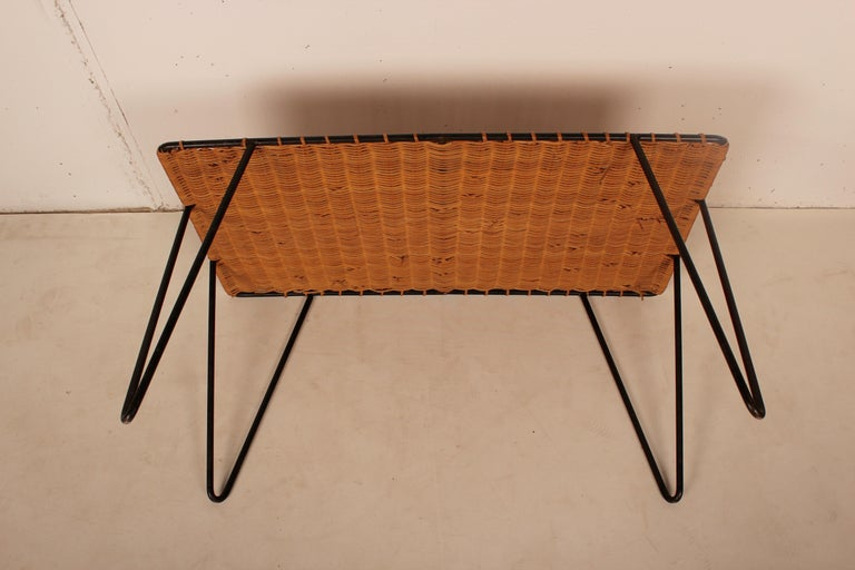 Outdoor Rattan Wicker Set, Coffee Table and 2 Chairs by Raoul Guys, France, 1950 For Sale 2