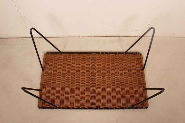 Outdoor Rattan Wicker Set, Coffee Table and 2 Chairs by Raoul Guys, France, 1950 For Sale 3
