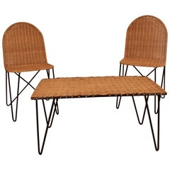 Outdoor Rattan Wicker Set, Coffee Table and 2 Chairs by Raoul Guys, France, 1950