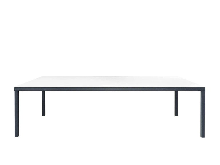 Dining table with top in reinforced resin, lacquered in matte white and metallic structure lacquered in anthracite grey. Unlike concrete, reinforced resin is forceful enough to withstand extreme weather conditions. Dimensions (in): 118.1 x 51.2 x