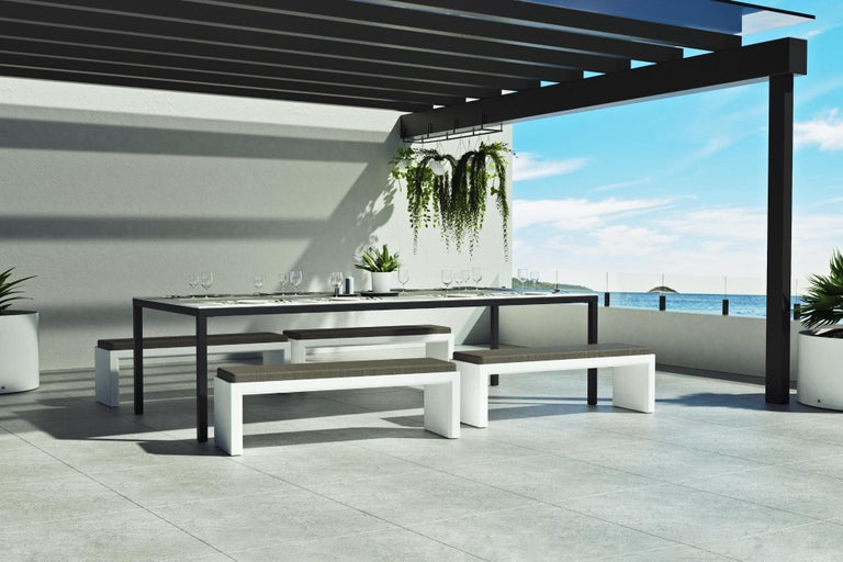 Portuguese Outdoor Rectangular Dining Table in White Lacquered Resin For Sale