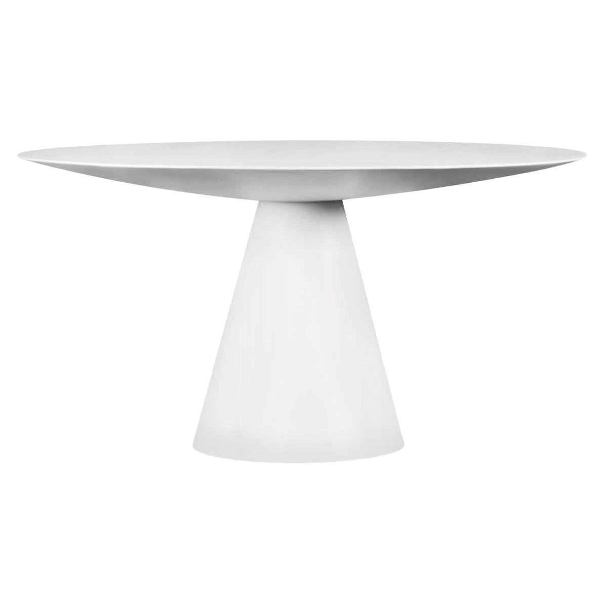 Outdoor Round Dining Table in White Lacquer