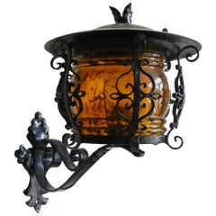 Outdoor Sconce Exterior Wall Light Lantern Iron Glass, French