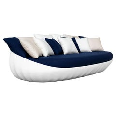 Outdoor Sofa Fiberglass Lacquered White Waterproof Outdoor Fabrics Navy Blue