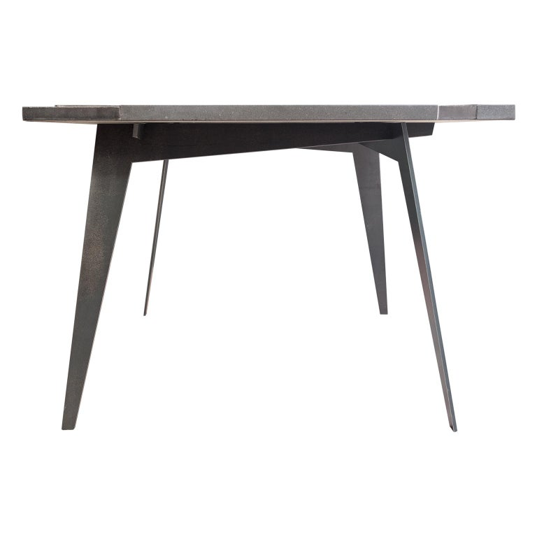 Modern Square Table in Lava Stone and Steel, FilodiFumo 4th For Sale