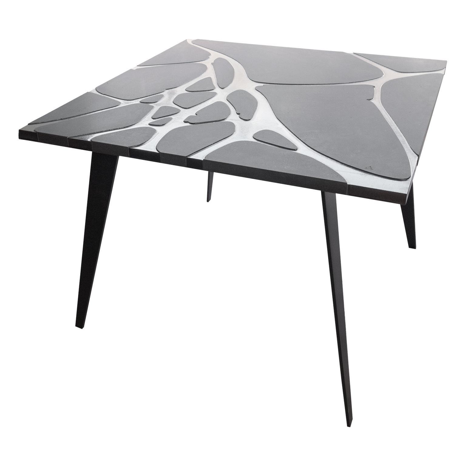 Square Table in Lava Stone and Steel, FilodiFumo 4th