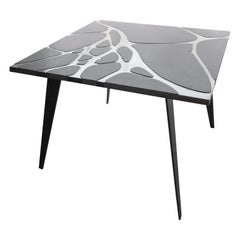 Square Table in Lava Stone and Steel, FilodiFumo 4th