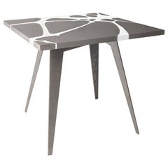 Outdoor Table in Lava Stone and Steel, Venturae v2, Filodifumo, White Inlay