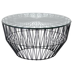 Outdoor Table Ottoman, the Drum Table by Bend Goods, Black with Glass