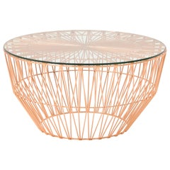 Outdoor Table Ottoman, The Drum Table by Bend Goods, Copper with Glass
