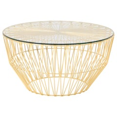 Outdoor Table Ottoman, the Drum Table by Bend Goods, Gold with Glass