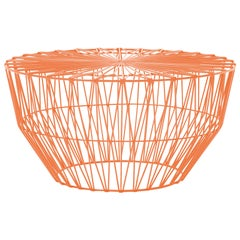 Outdoor Table Ottoman, the Drum Table by Bend Goods, Orange
