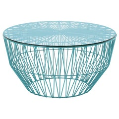 Outdoor Table Ottoman, The Drum Table by Bend Goods, Peacock Blue with Glass