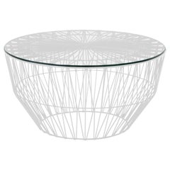 Outdoor Table Ottoman, the Drum Table by Bend Goods, White with Glass