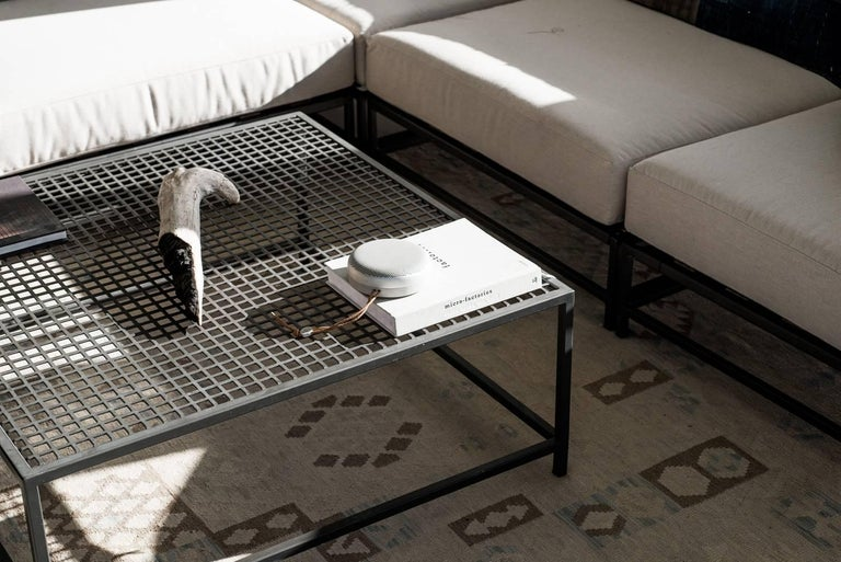 Powder-Coated Outdoor Charcoal Coffee Table For Sale