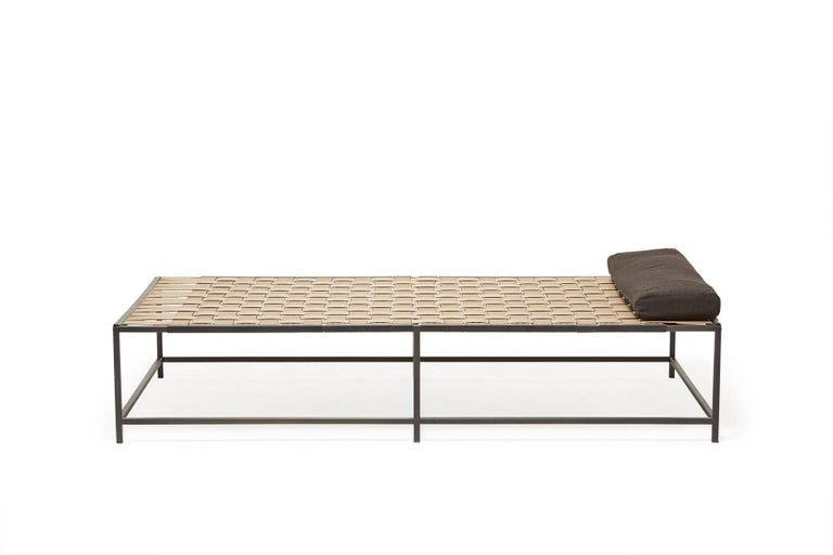 Modern Outdoor Tan and Charcoal Daybed For Sale