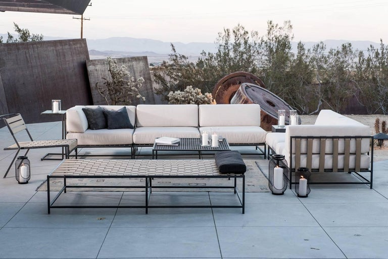 Contemporary Outdoor Tan and Charcoal Daybed For Sale