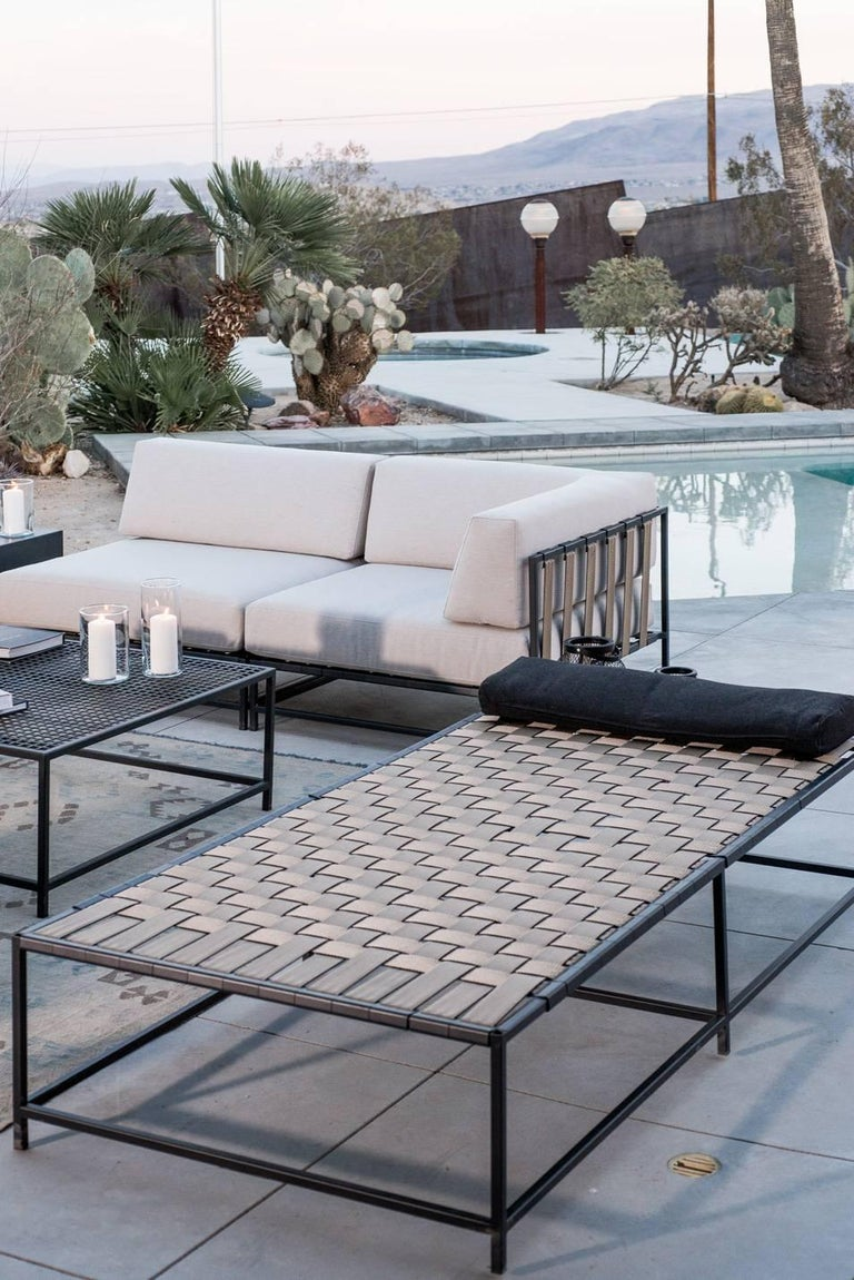 Steel Outdoor Tan and Charcoal Daybed For Sale