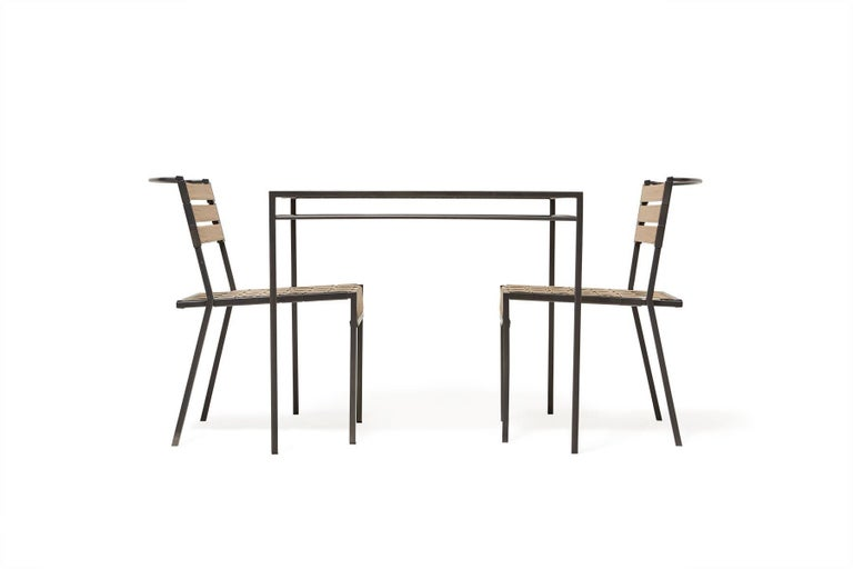 Outdoor Tan and Charcoal Dining Chair For Sale 2