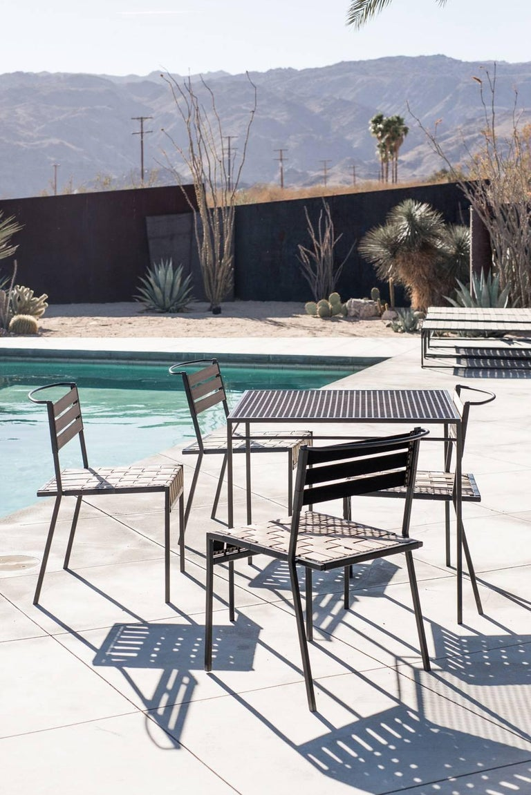 Outdoor Tan and Charcoal Dining Chair For Sale 4