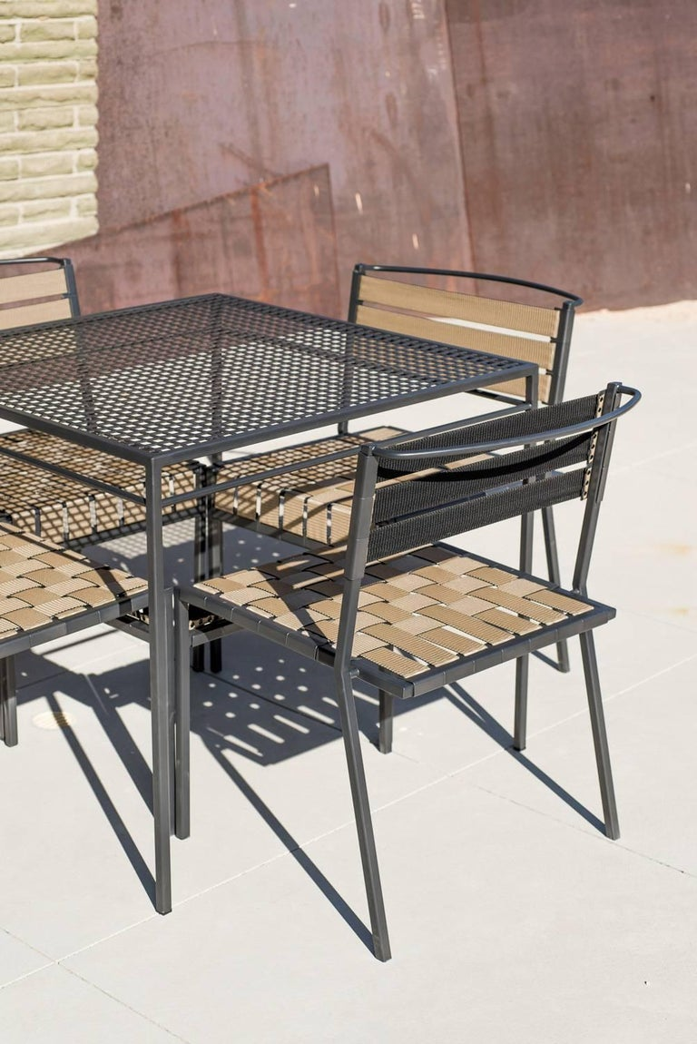 Outdoor Tan and Charcoal Dining Chair For Sale 6