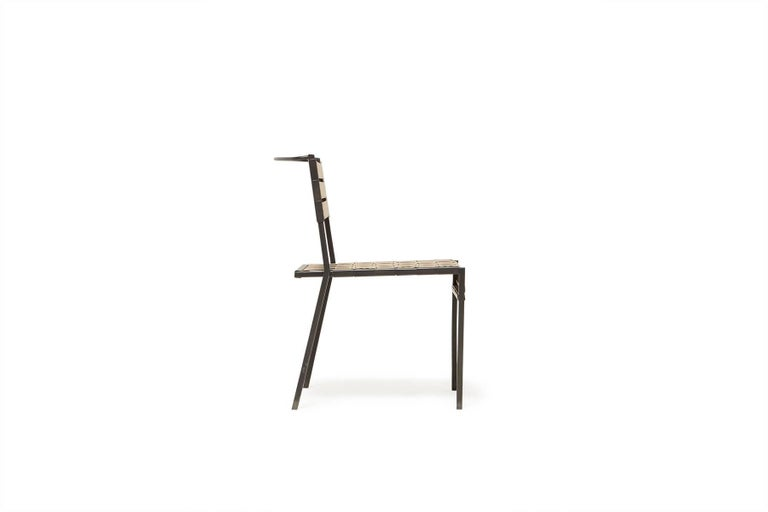 Modern Outdoor Tan and Charcoal Dining Chair For Sale