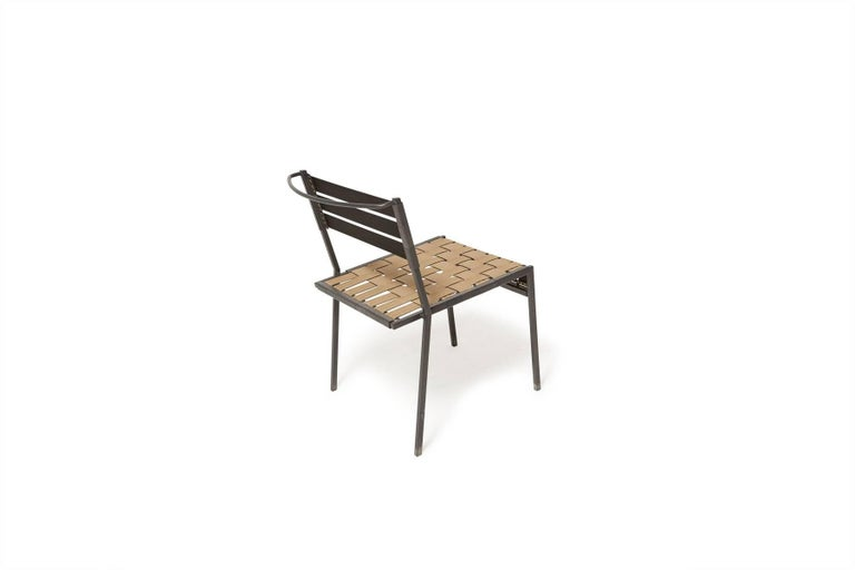 Outdoor Tan and Charcoal Dining Chair In New Condition For Sale In Los Angeles, CA