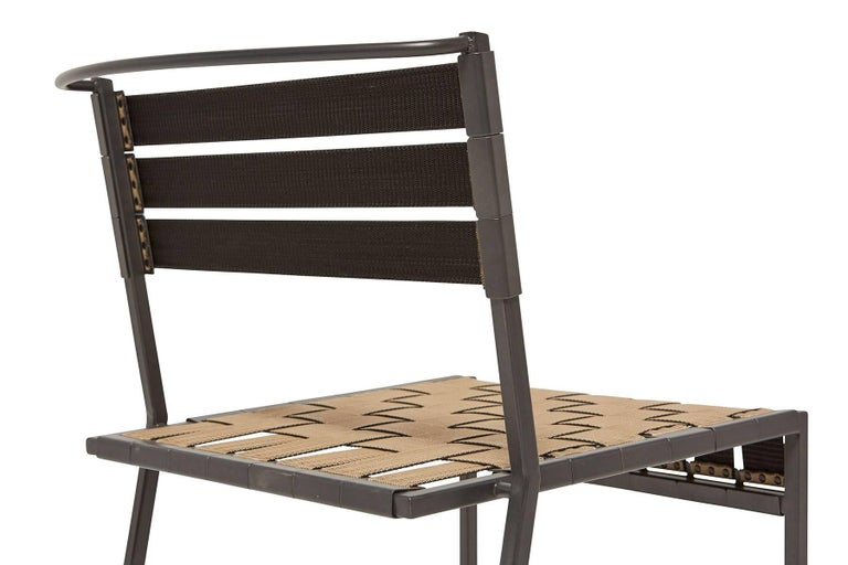 Contemporary Outdoor Tan and Charcoal Dining Chair For Sale