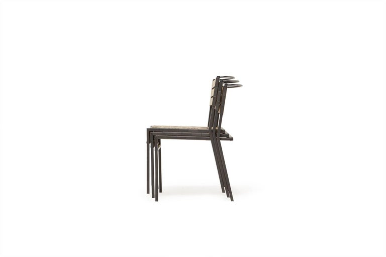 Steel Outdoor Tan and Charcoal Dining Chair For Sale