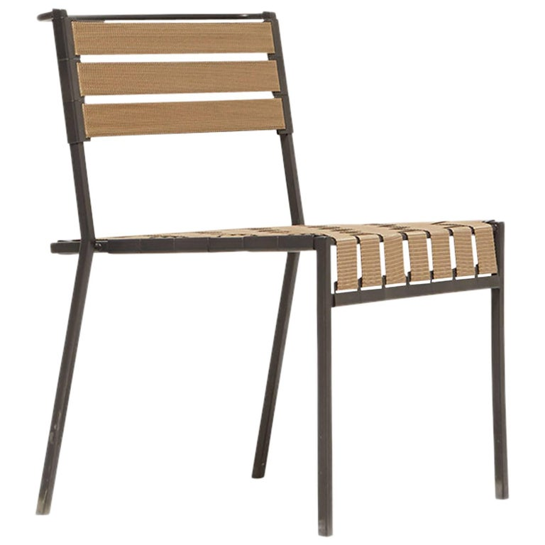 Outdoor Tan and Charcoal Dining Chair For Sale