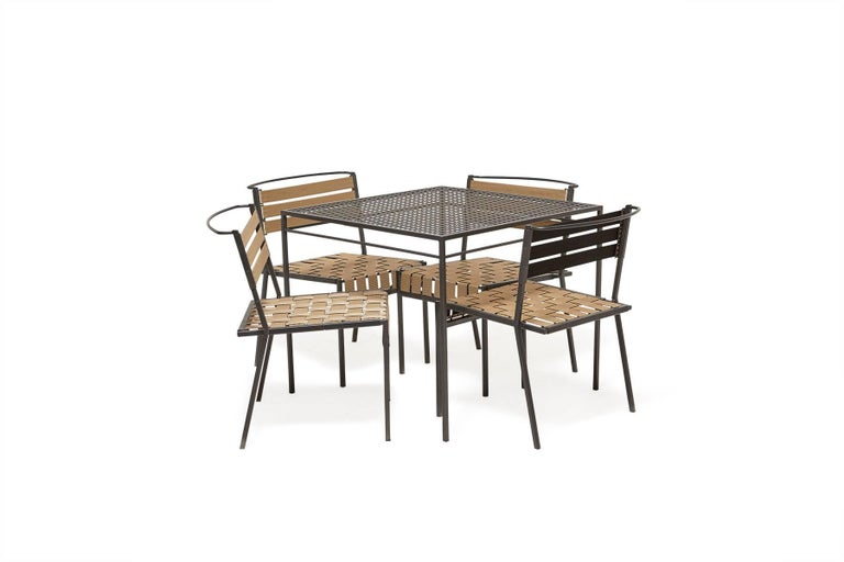 American Outdoor Charcoal Dining Table For Sale