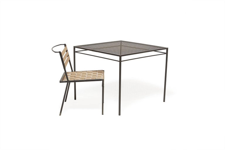 Powder-Coated Outdoor Charcoal Dining Table For Sale