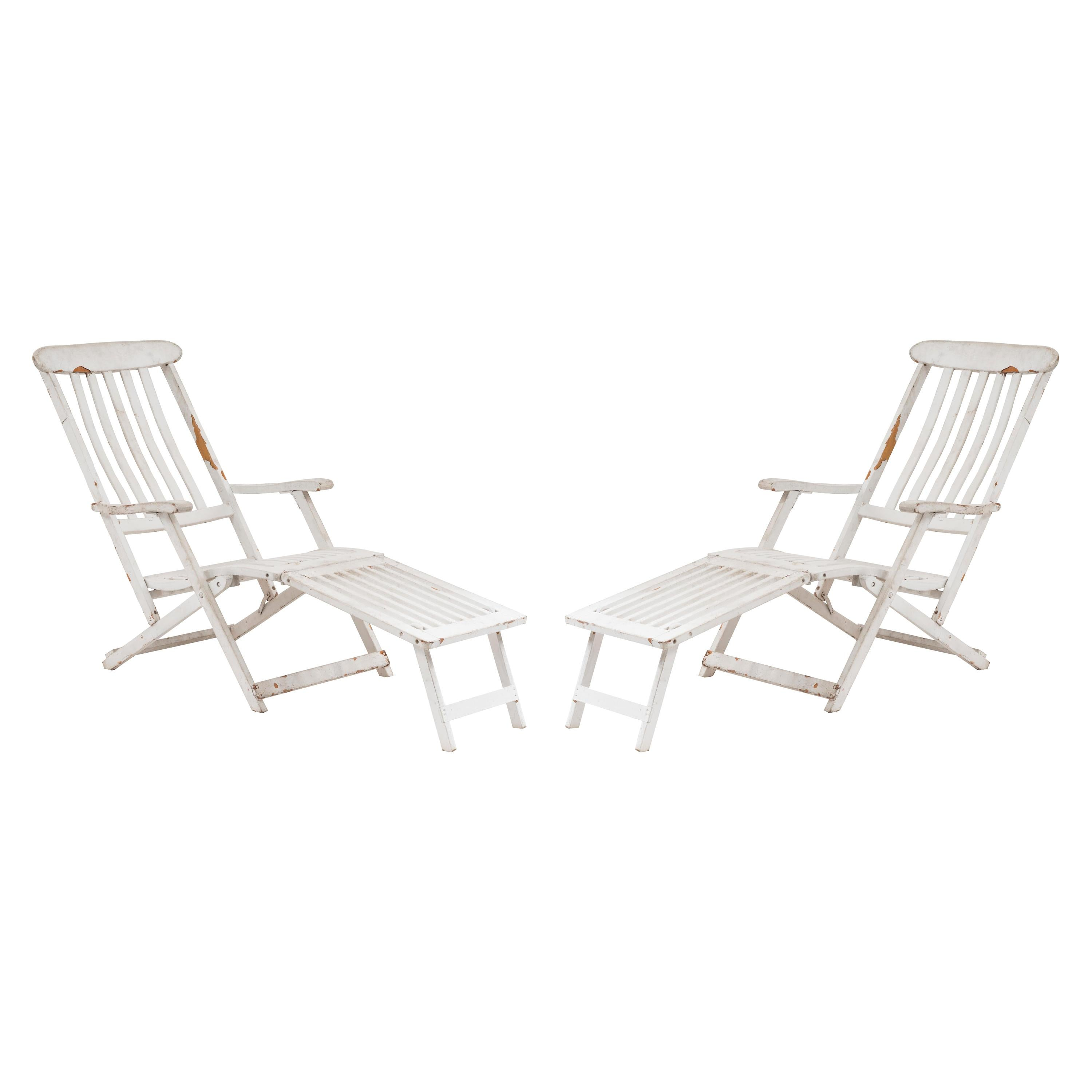 Outdoor White Folding Deck Chairs