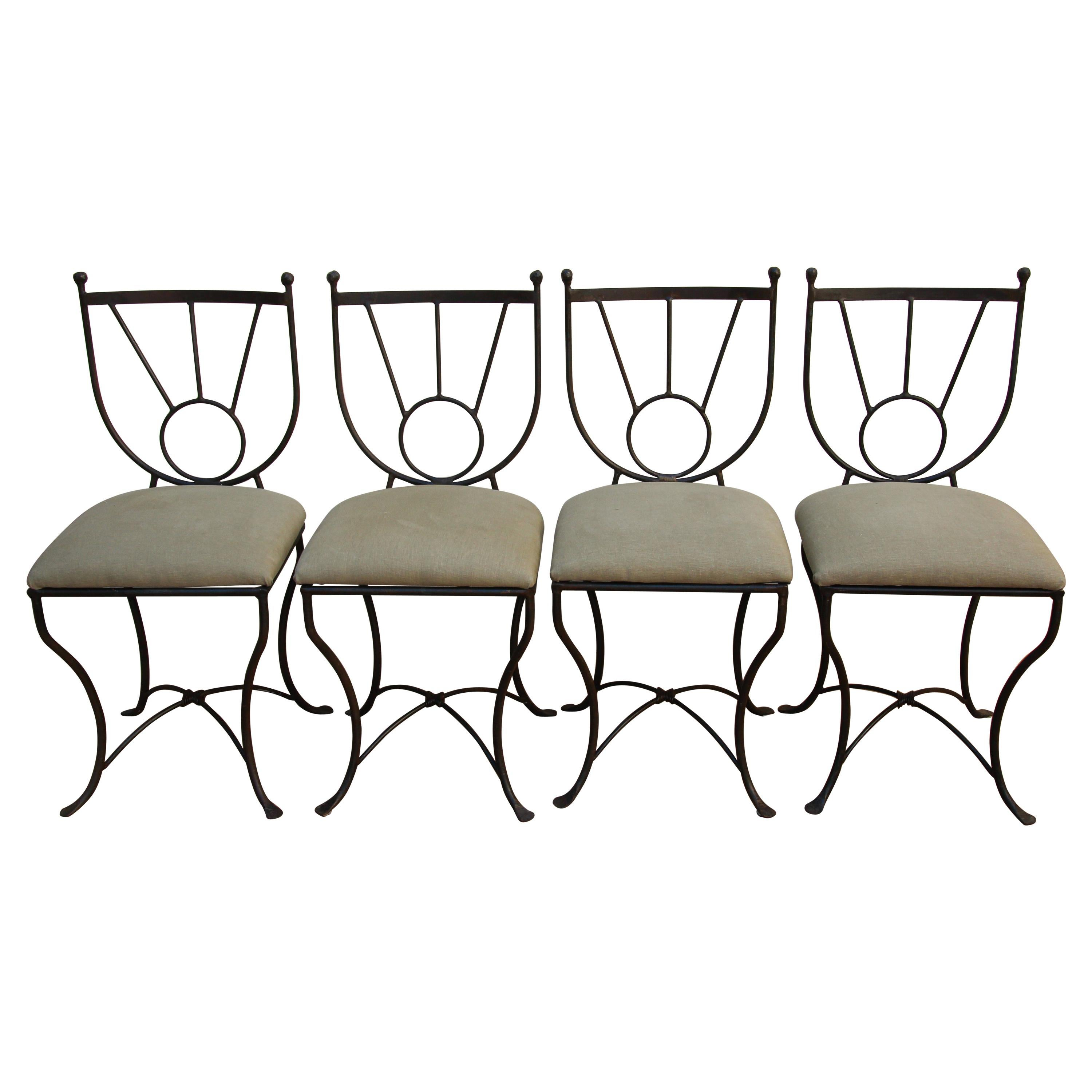 Outdoor Wrought Iron Chairs Set of Four in Mario Papperzini Style