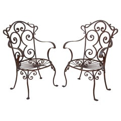 Outdoor Wrought Iron Set of Armchairs in Jean-Charles Moreux Style
