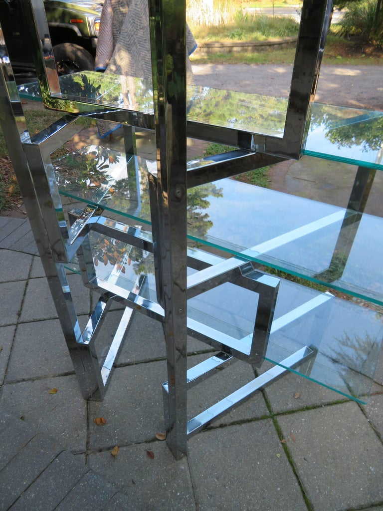 Late 20th Century Outrageous Milo Baughman Style Chrome and Glass Butterfly Étagère Midcentury For Sale