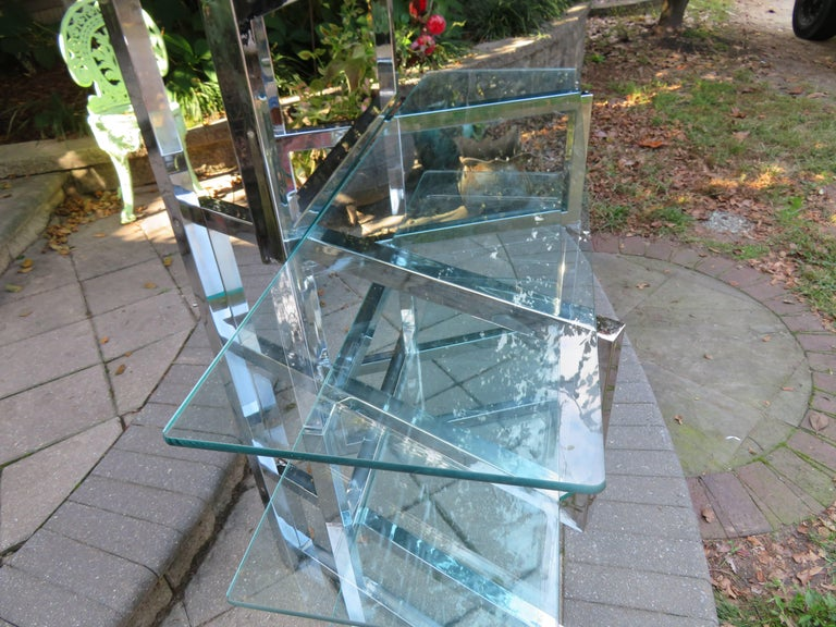 Outrageous Milo Baughman Style Chrome and Glass Butterfly Étagère Midcentury For Sale 3