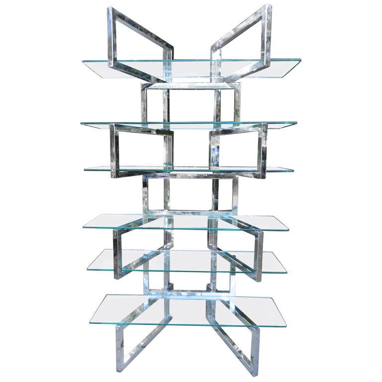 Outrageous Milo Baughman Style Chrome and Glass Butterfly Étagère Midcentury For Sale