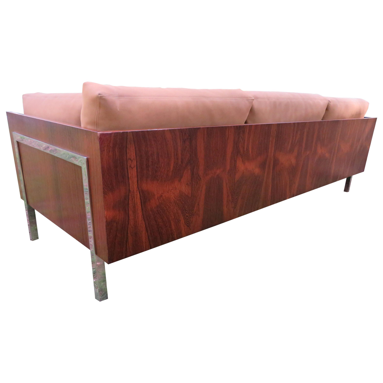 Outrageous Milo Baughman Style Rosewood Chrome Case Sofa John Stuart