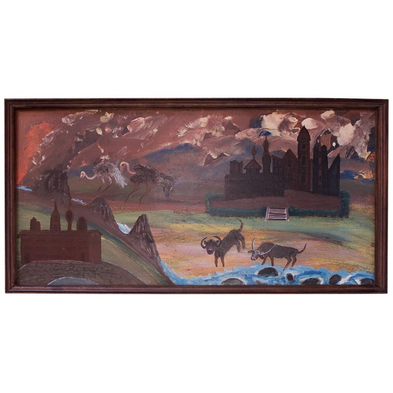"""Outsider Art """"Animals and Castles"""" Oil on Panel by Bruno Del Favero For Sale"""
